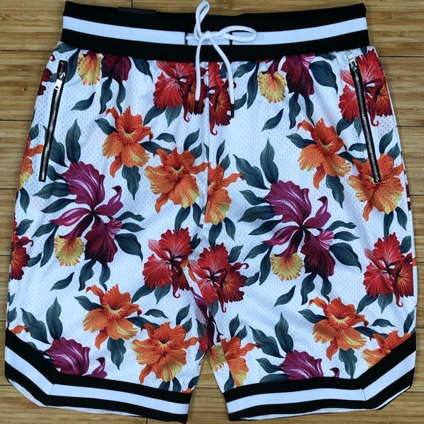 Rebel minds- basketball flowers all over shorts