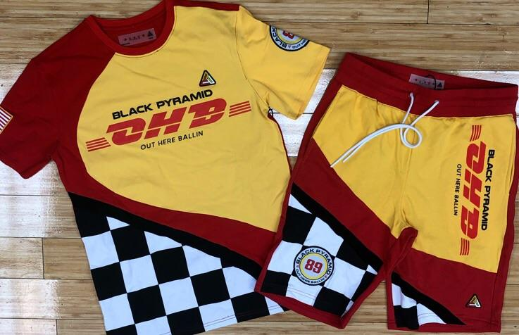 Black pyramid- ohb racing flag shorts sets