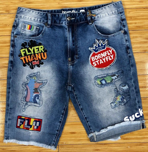 Born fly- flyer than you denim shorts