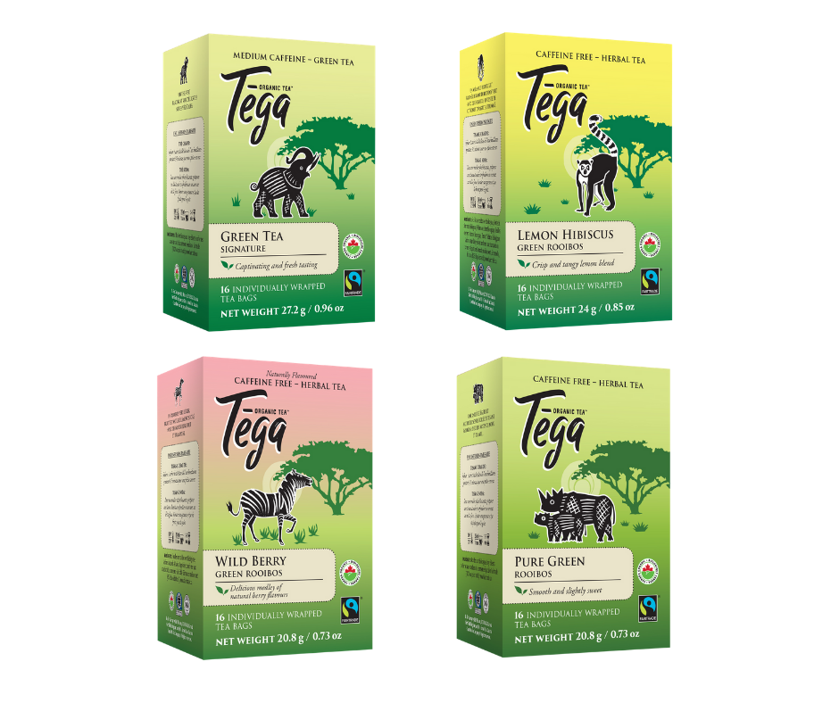 Tega Tea Organic Green Tea Lovers Gift Pack (4 x 16ct Boxes)