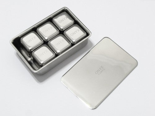 Onyx Stainless Steel Ice Cubes - 6 Pack