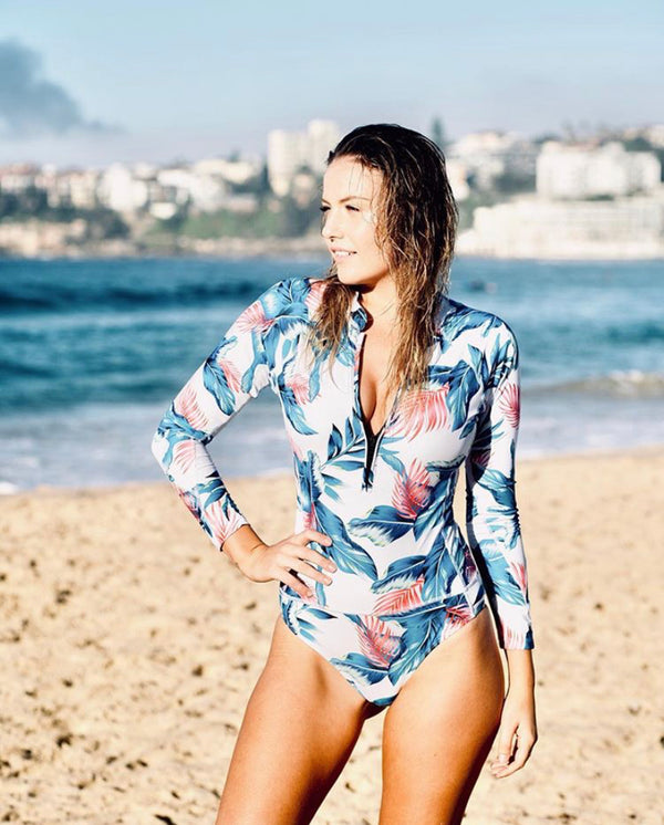 Floral One Piece Long Sleeve Swimsuit