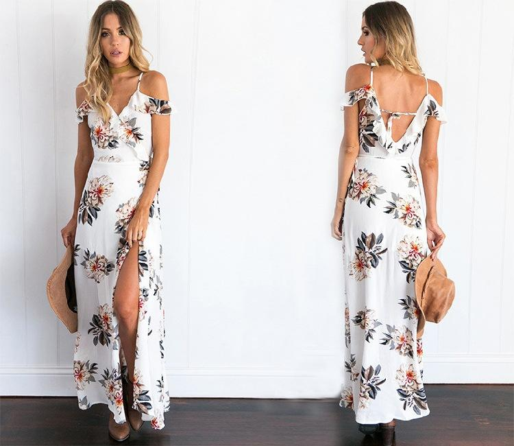 Floral printed boho summer dress