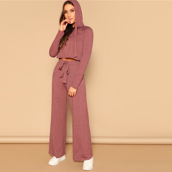 Crop Hoodie And Pants Manhattan Set