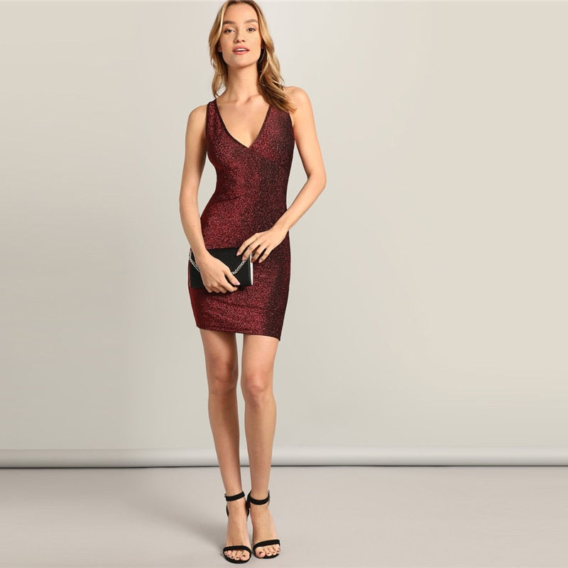 Glamorous Burgundy Party Dress