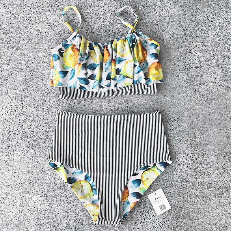 Sexy Lemon Print Bikini Set