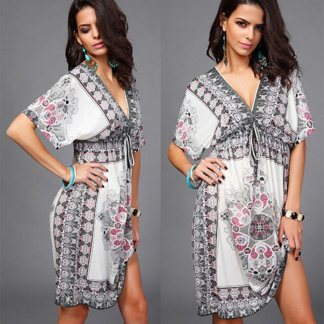 Soft silk boho beach dress tribal print