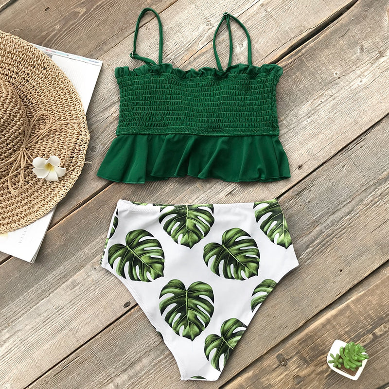 Green Leaf Print High-Waisted Bikini Set