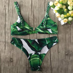 Tropical Leaves Retro Bikini Set