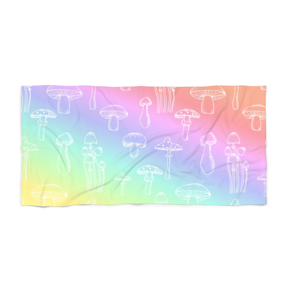 Shrooms Pastel Rainbow Beach Towel