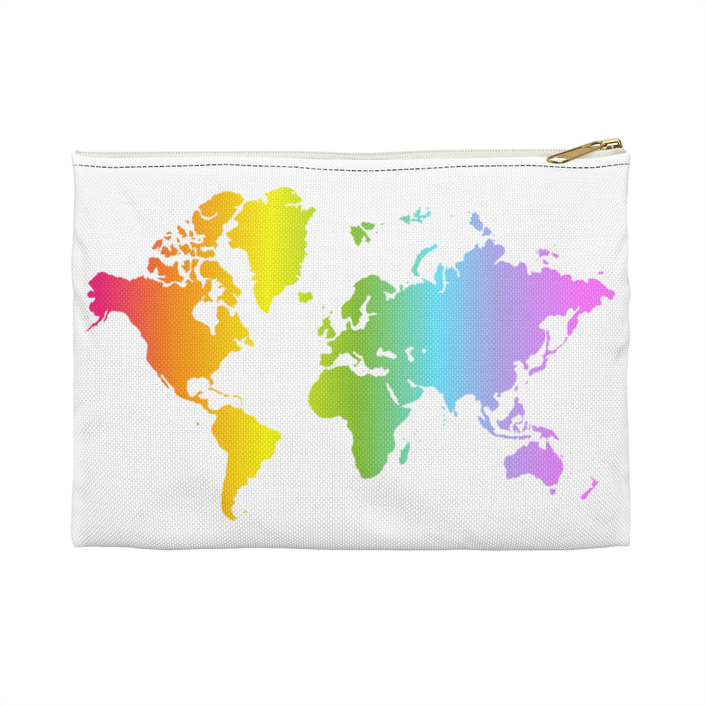 Rainbow World Map Flat Accessory Pouch