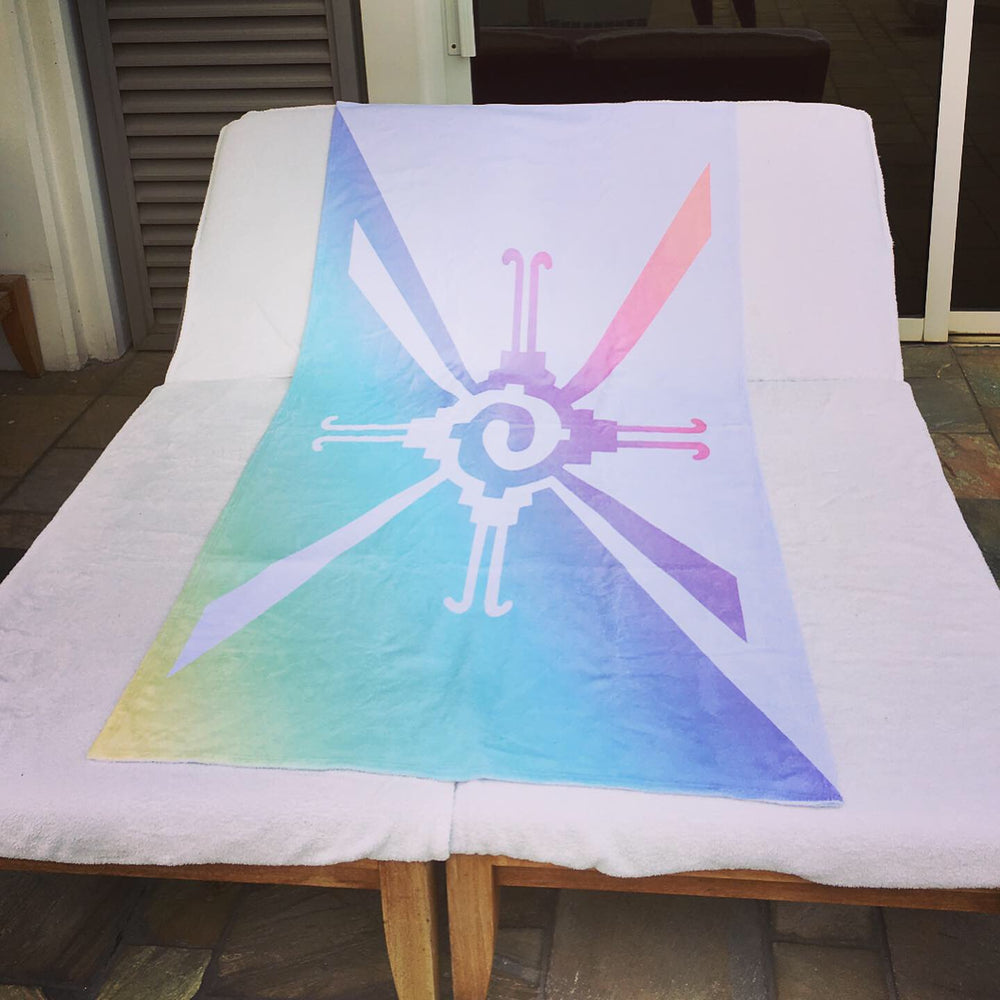 visionary-aesthetic - Hunab Ku Pastel Rainbow Beach Towel - Printify - Home Decor