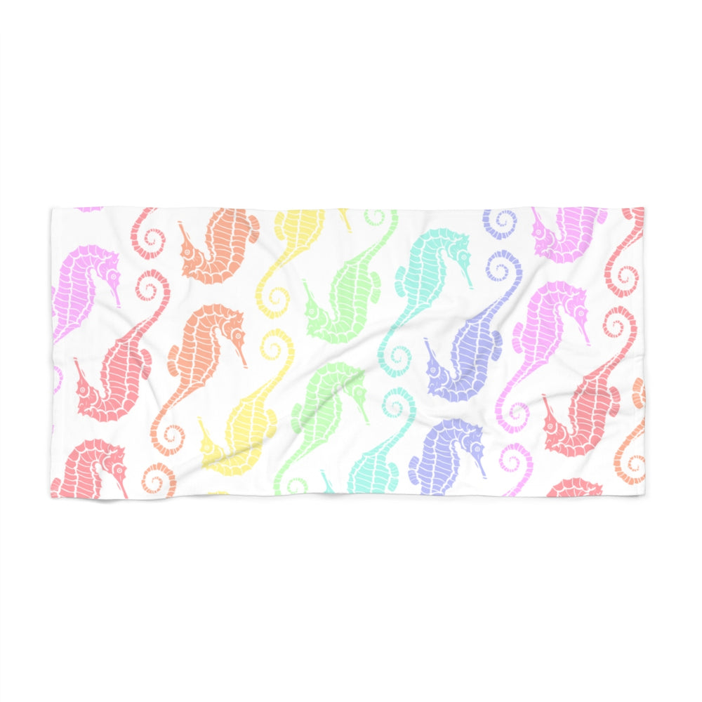 visionary-aesthetic - Seahorses Pastel Rainbow Beach Towel - Printify - Home Decor