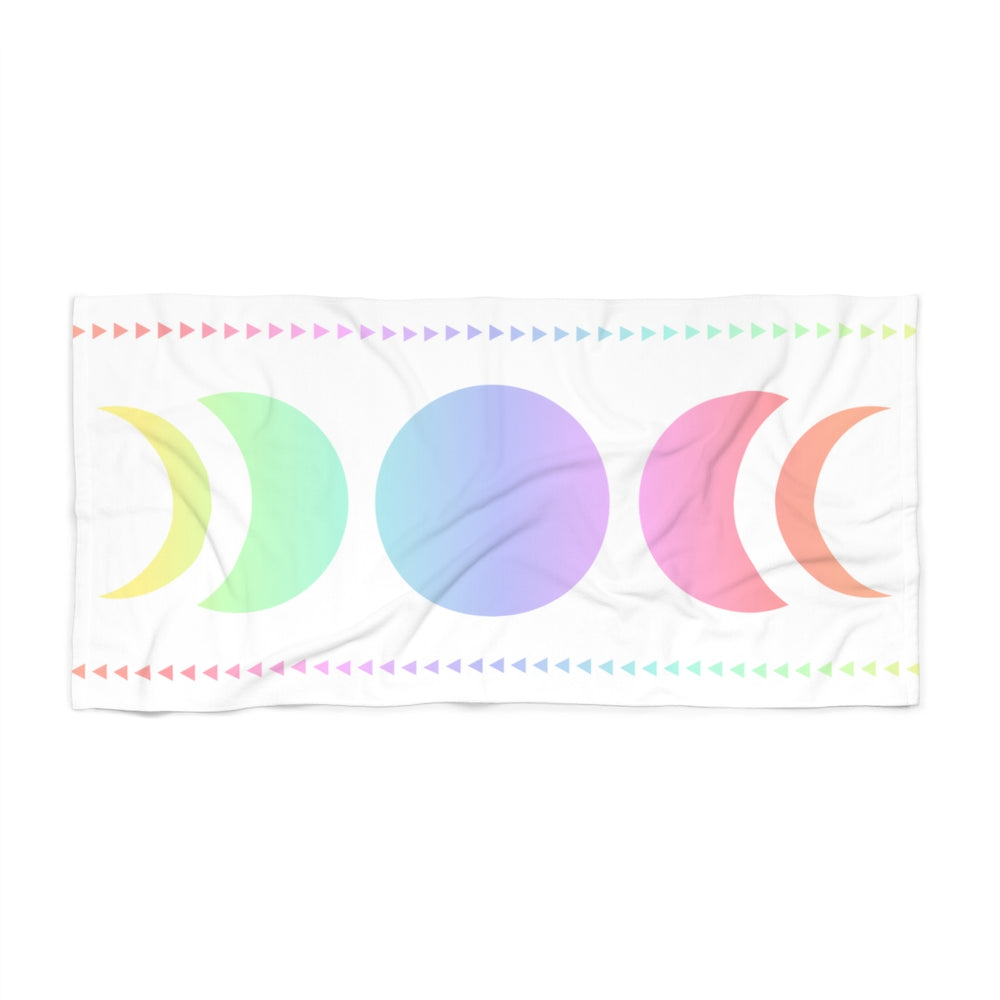 Moon Magic Pastel Rainbow Beach Towel