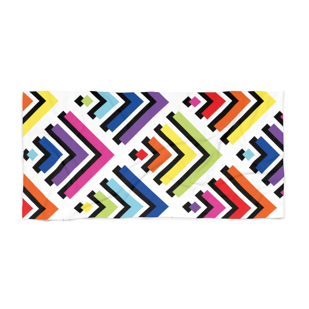 Labyrinth Vibrant Rainbow Beach Towel