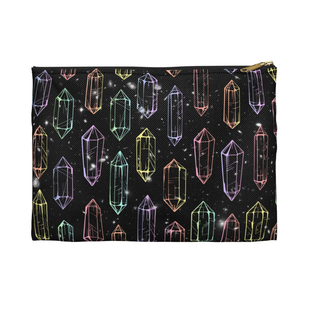 Crystal Galaxies (Outline) Flat Accessory Pouch