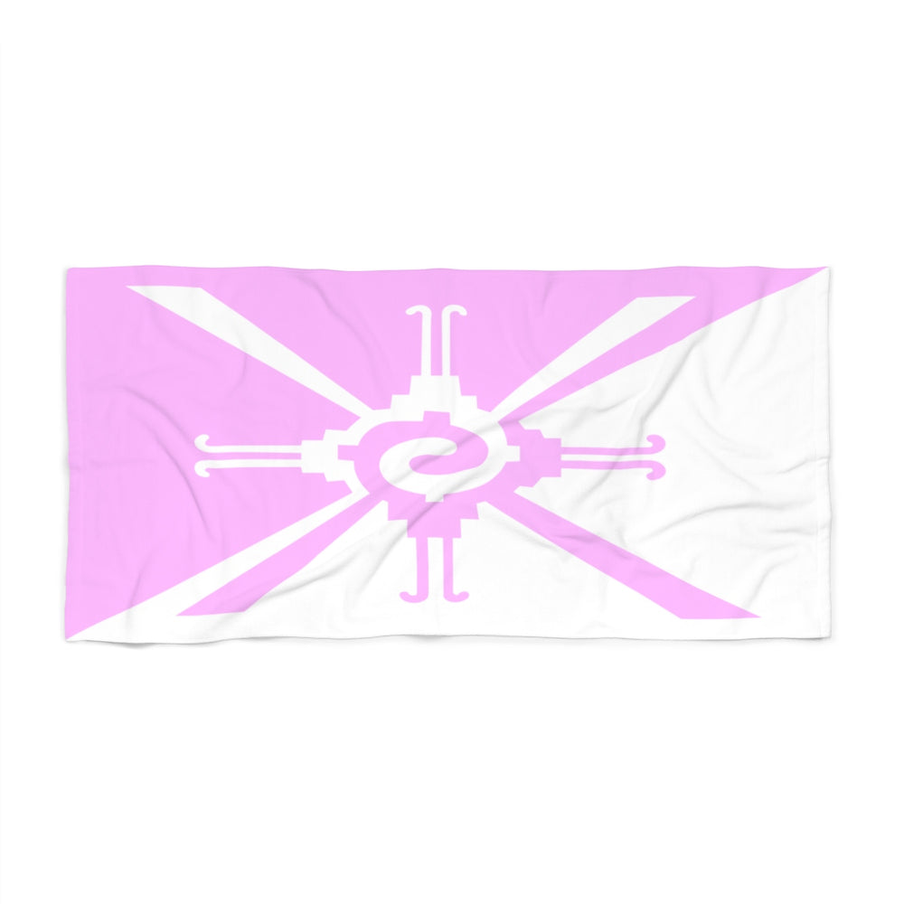 Hunab Ku Pink & White Beach Towel