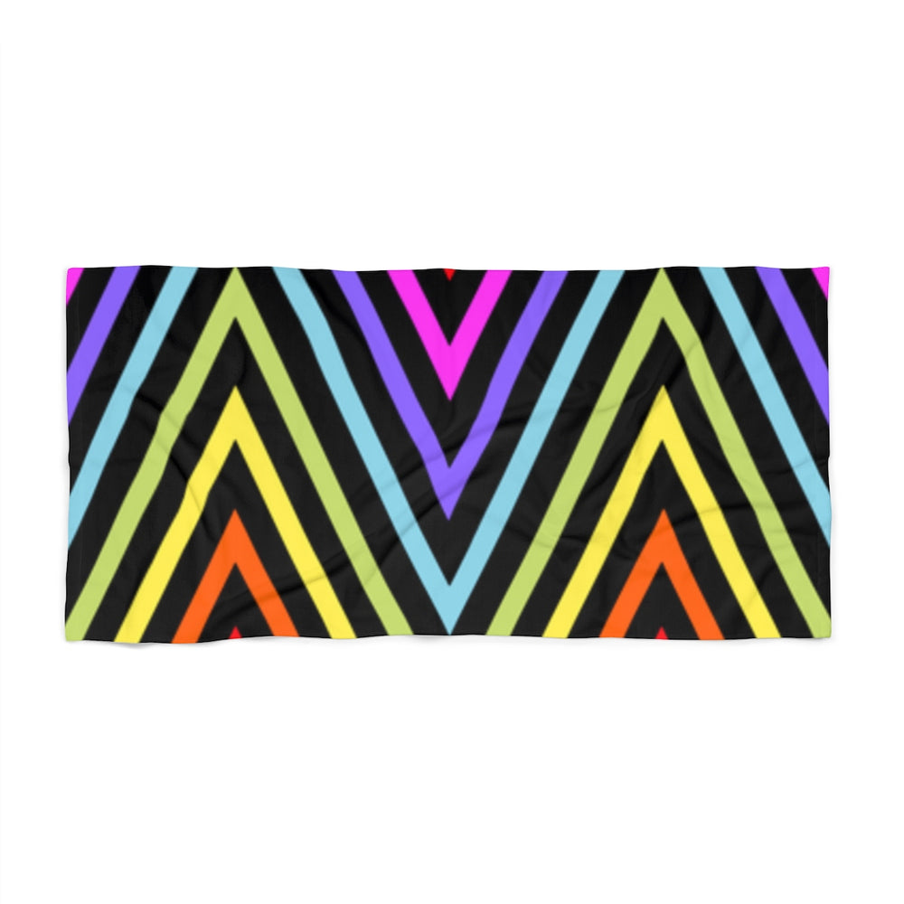 Meander Black & Rainbow Beach Towel