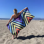visionary-aesthetic - Meander Black & Rainbow Beach Towel - Printify - Home Decor