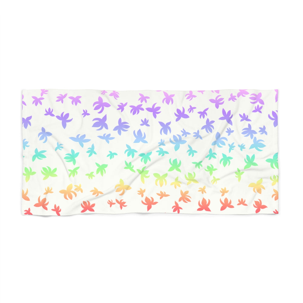 Falling Lotus Pastel Rainbow Beach Towel