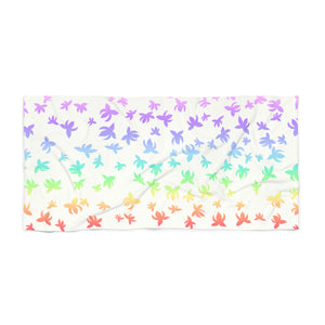 Pastel Rainbow Falling Lotus Beach Towel