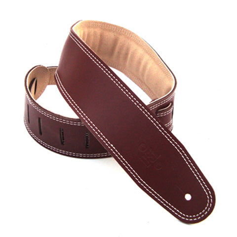 "DSL GES 2.5"" Padded Suede & Leather Guitar Strap - Maroon/Beige"
