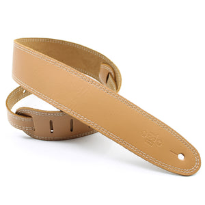 "DSL SGE 2.5"" Leather Guitar Strap - Tan/Beige Stitching"
