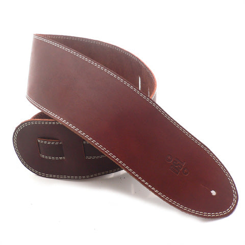 "DSL SGE 3.5"" Leather Guitar Strap - Maroon/Beige Stitching"