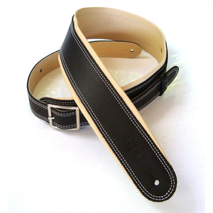 "DSL GEB 2.5"" Rolled Edge Buckle Leather Guitar Strap - Black/Beige - Downtown Music Sydney"