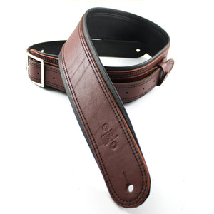 "DSL GEB 2.5"" Rolled Edge Buckle Leather Guitar Strap - Maroon/Black - Downtown Music Sydney"