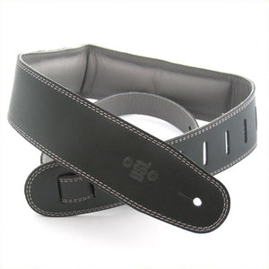 "DSL GEG 2.5"" Padded Garment Leather Guitar Strap - Black/Grey - Downtown Music Sydney"