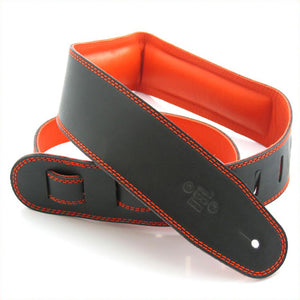 "DSL GEG 2.5"" Padded Garment Leather Guitar Strap - Black/Orange - Downtown Music Sydney"