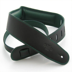 "DSL GEG 2.5"" Padded Garment Leather Guitar Strap - Black/Green - Downtown Music Sydney"