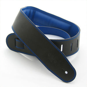 "DSL GEG 2.5"" Padded Garment Leather Guitar Strap - Black/Blue - Downtown Music Sydney"