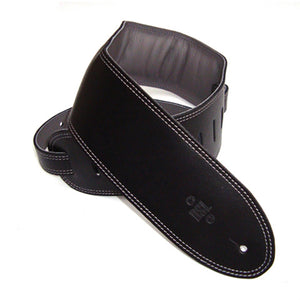 "DSL GEG 3.5"" Padded Garment Leather Guitar Strap - Black/Grey - Downtown Music Sydney"