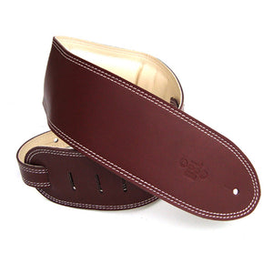 "DSL GEG 3.5"" Padded Garment Leather Guitar Strap - Maroon/Beige - Downtown Music Sydney"