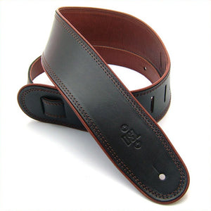 "DSL GEP 2.5"" Rolled Edge Leather Guitar Strap - Black/Brown - Downtown Music Sydney"