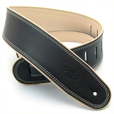 "DSL GEP 2.5"" Rolled Edge Leather Guitar Strap - Black/Beige"