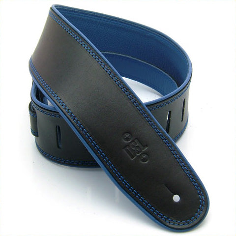 "DSL GEP 2.5"" Rolled Edge Leather Guitar Strap - Black/Blue"