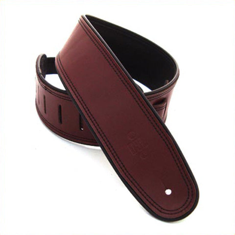 "DSL GEP 2.5"" Rolled Edge Leather Guitar Strap - Maroon/Black"