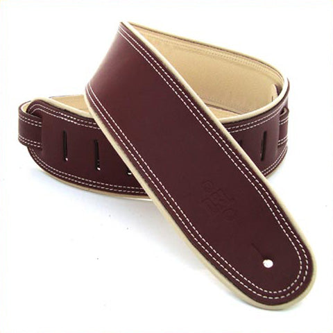 "DSL GEP 2.5"" Rolled Edge Leather Guitar Strap - Maroon/Beige"
