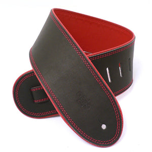 "DSL GEP 3.5"" Rolled Edge Leather Guitar Strap - Black/Red - Downtown Music Sydney"