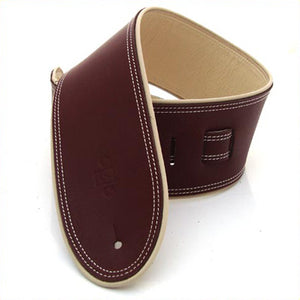 "DSL GEP 3.5"" Rolled Edge Leather Guitar Strap - Maroon/Beige - Downtown Music Sydney"
