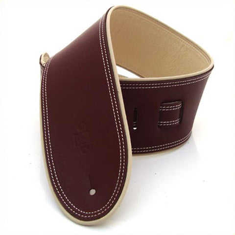 "DSL GEP 3.5"" Rolled Edge Leather Guitar Strap - Maroon/Beige"