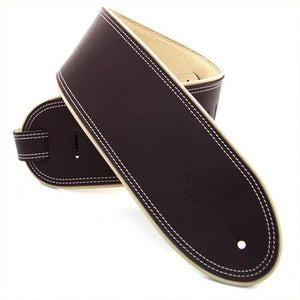 "DSL GEP 3.5"" Rolled Edge Leather Guitar Strap - Brown/Beige - Downtown Music Sydney"