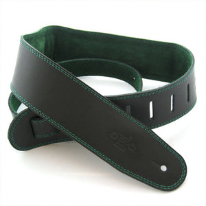 "DSL GES 2.5"" Padded Suede & Leather Guitar Strap - Black/Green - Downtown Music Sydney"