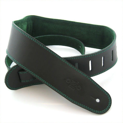 "DSL GES 2.5"" Padded Suede & Leather Guitar Strap - Black/Green"