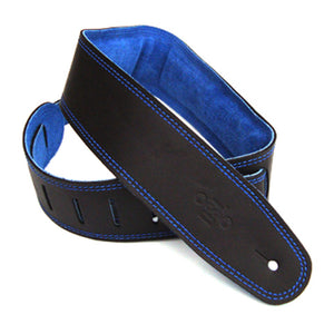 "DSL GES 2.5"" Padded Suede & Leather Guitar Strap - Black/Blue - Downtown Music Sydney"