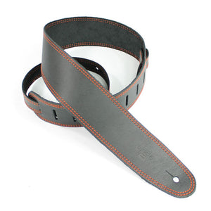 "DSL SGE 2.5"" Leather Guitar Strap - Black/Orange Stitching - Downtown Music Sydney"