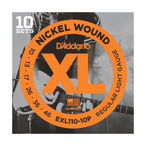 D'Addario EXL110-10P Regular Light Electric Guitar Strings (10-46) - 10 Sets